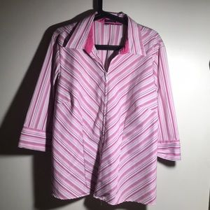 Pink White Pinstriped Zip up Blouse Size 18 - 22